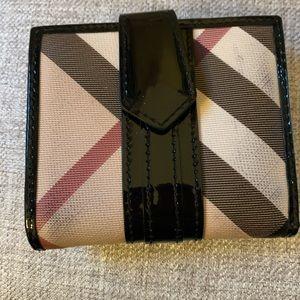 Authentic Burberry patent & nova check wallet